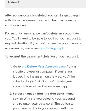 How to delete my Instagram account in phone?